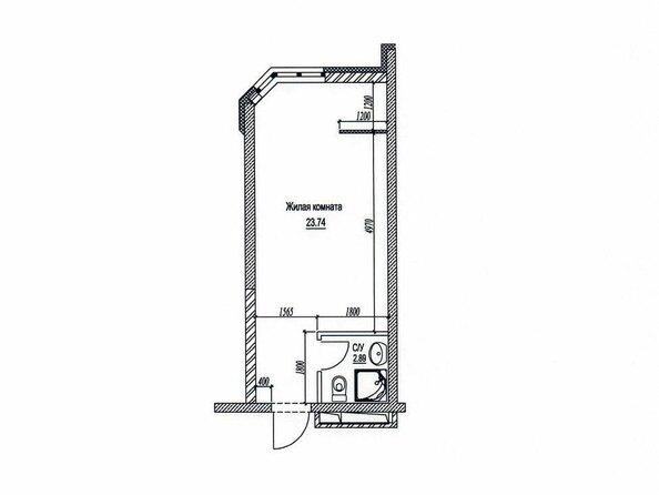 Планировки Жилой комплекс ЦВЕТНОЙ БУЛЬВАР, дом 18, корпус 2 - Планировка однокомнатной квартиры 26,82 кв.м