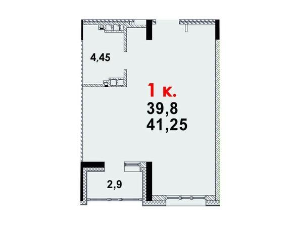 Планировка 1-комн 41,01 м²