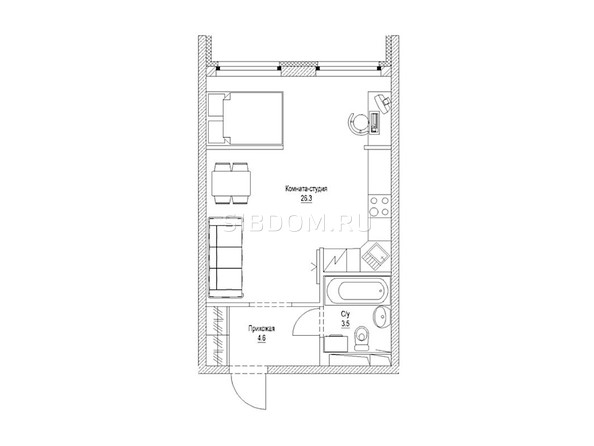 1-комнатная 35.7 кв.м