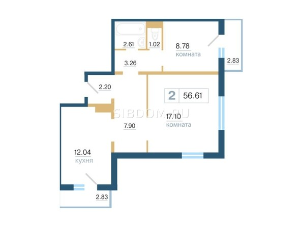 Планировка 2-комн 56,61 м²