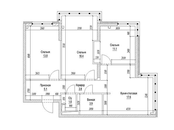 3-комнатная 76.5 кв.м