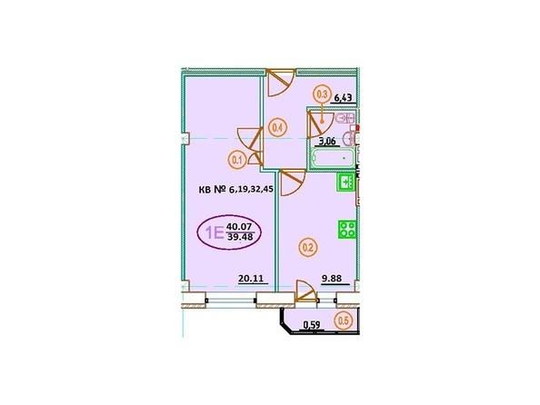 Планировка 1-комн 40,07 м²