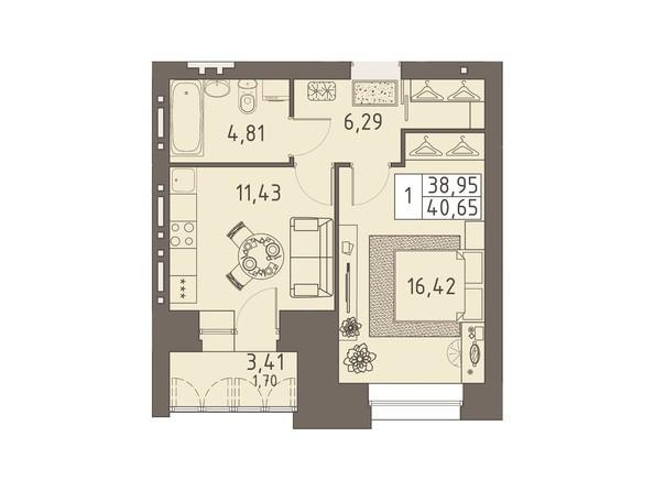 Планировки ВАВИЛОВСКИЙ ДВОРИК - 1-комнатная 40,65 кв.м