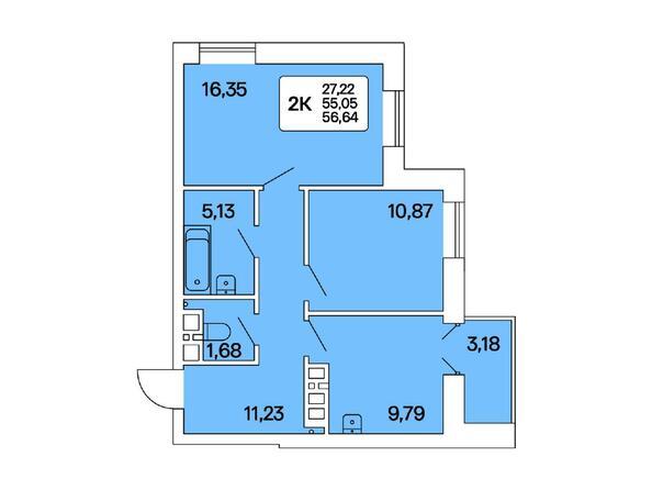 2-комнатная 56,64 кв.м