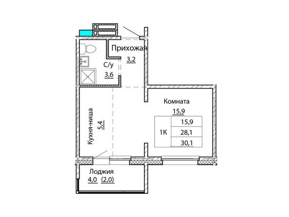 Планировки Жилой комплекс КОСМОНАВТЫ, Б/С 1 - Планировка однокомнатной квартиры 30,1 кв.м