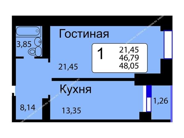 Б/С - 13. Планировка однокомнатной квартиры 48,05 кв.м. Этажи 1-9.