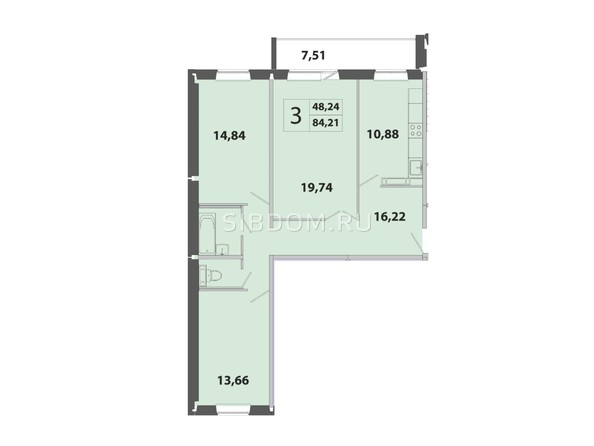 Планировка 3-комн 84,2, 84,21 м²
