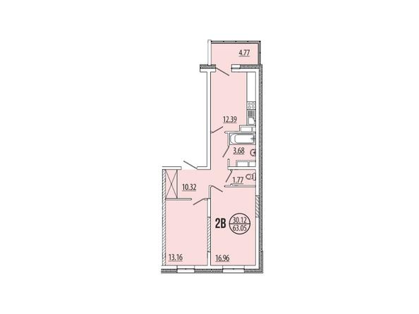 Планировка 2-комн 63,05 м²