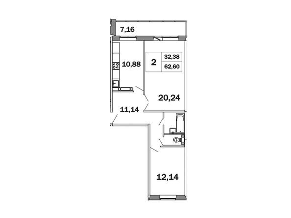 Планировки Жилой комплекс ЯСНЫЙ, дом 1 - Планировка двухкомнатной квартиры 62,6 кв.м
