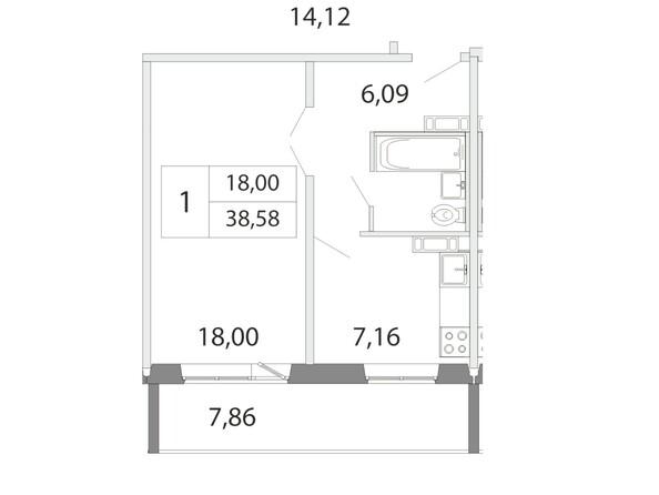 Планировка 1-комн 38,58 м²