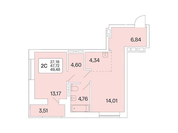 Планировка 2-комн 49,17 - 49,61 м²