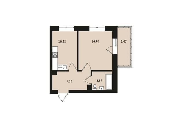Планировки Жилой комплекс ВДОХНОВЕНИЕ - Планировка однокомнатной квартиры 41,51 кв.м