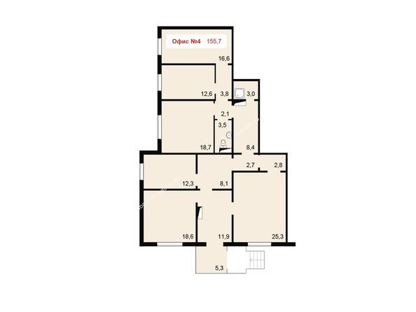 Планировки Жилой комплекс НОВОНИКОЛАЕВСКИЙ ж/к, 2 дом, 3 стр - Планировка офисного помещения 155,7 кв.м