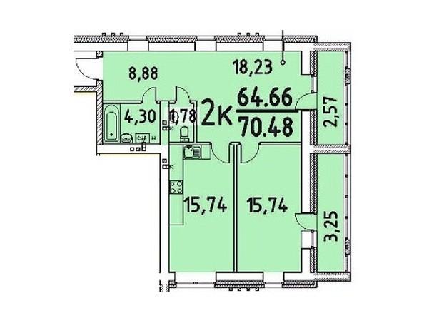 2-комнатная 64.66; 70.48 кв.м