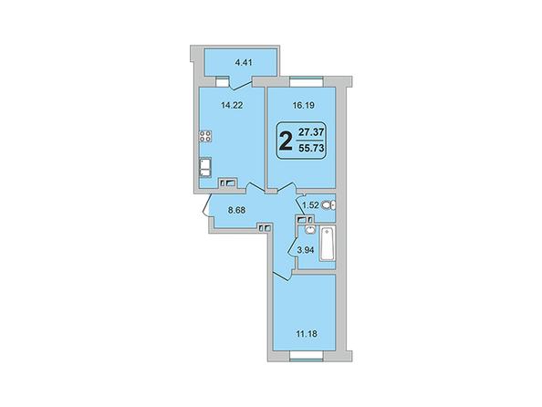 Планировки ГРАНД-ПАРК, б/с 2-1 - 2-комнатная 55,73 кв.м