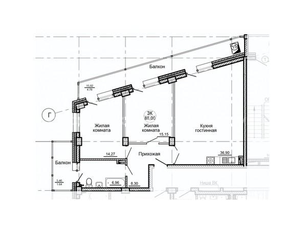 Планировки Жилой комплекс ГЛОБУС, дом 8 - Планировка трехкомнатной квартиры 88 кв.м