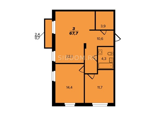 Планировка 3-комн 67,3 м²