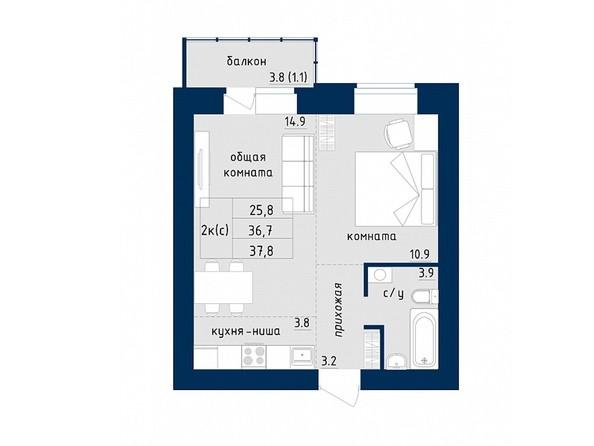 2-комнатная 37.8 кв.м