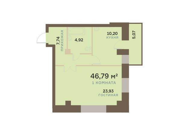 Планировки Жилой комплекс БОГРАДА 109, дом 1 - Планировка однокомнатной квартиры 46,79 кв.м