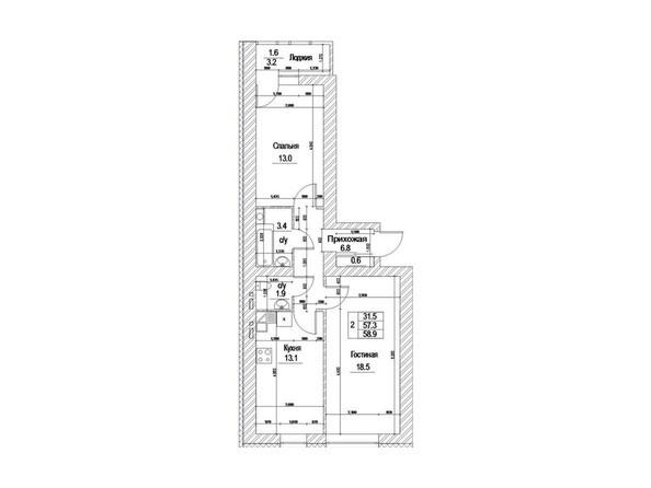 Планировка двухкомнатной квартиры 57 - 58,9 кв. м