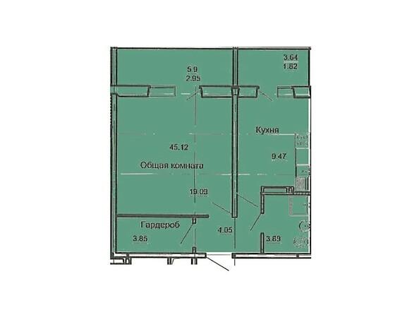 Планировка 1-комн 45,12 м²