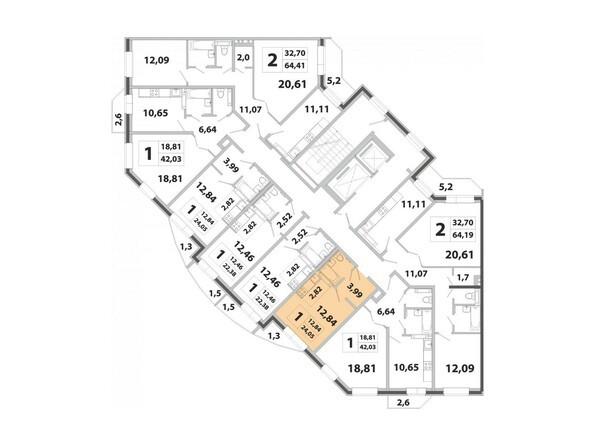 Планировки Жилой комплекс РАДОНЕЖСКИЙ, КПД-3 - Планировка двухкомнатной квартиры 24,05 кв.м