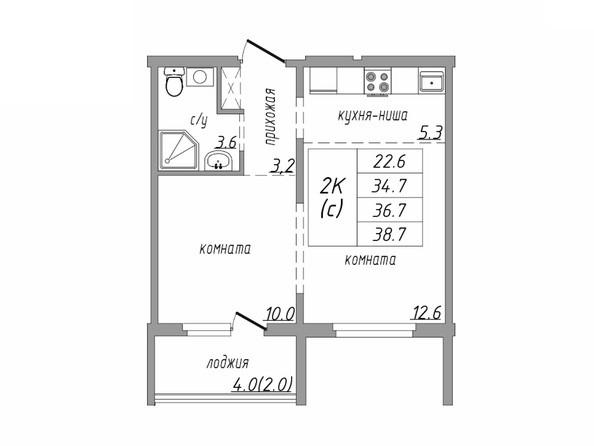 Планировка 2-комн 38,7 м²