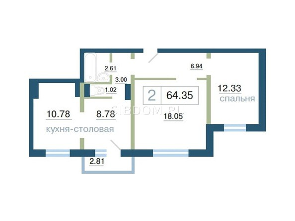 Планировка 2-комн 64,35 м²