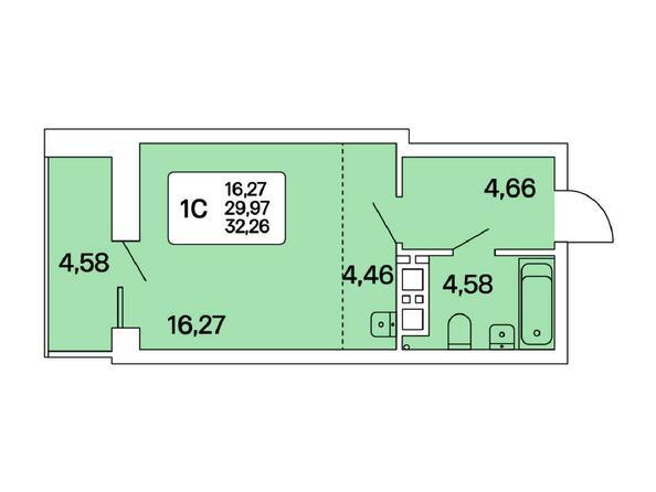 1-комнатная 32,26 кв.м