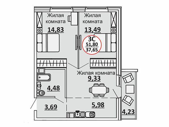 Планировки Жилой комплекс ВЕСЕННИЙ, Заречная 39, дом 2/4 - 3-комнатная 53,92 кв.м