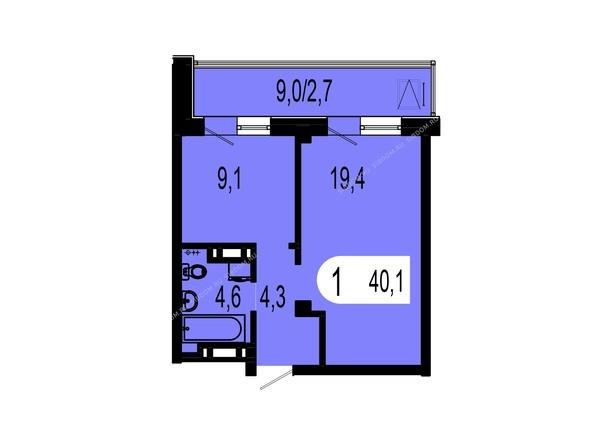 Планировки Жилой комплекс ТИХИЕ ЗОРИ, дом 1 (Красстрой) - Планировка однокомнатной квартиры 40,1 кв.м