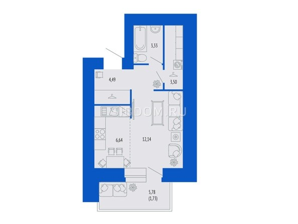 1-комнатная 33.39 кв.м