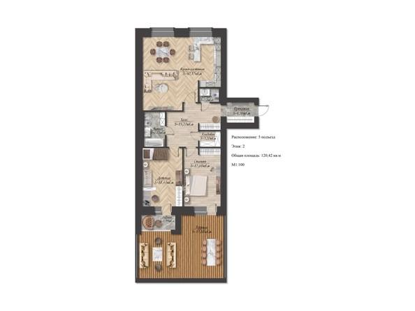 Планировка 3-комн 120,42 м²