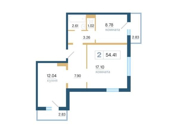 Планировка 2-комн 54,41 м²