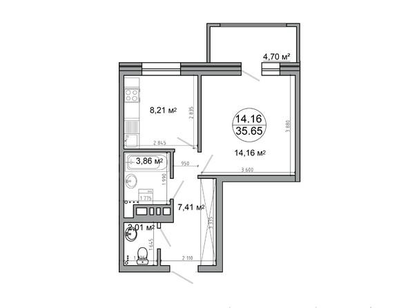 Планировка 1-комн 40,3, 40,35 м²