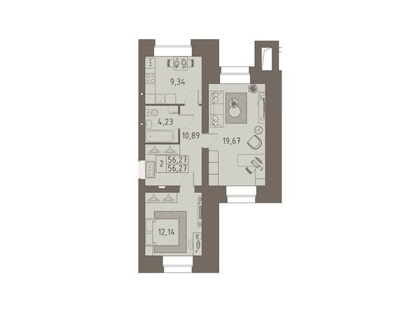Планировки ВАВИЛОВСКИЙ ДВОРИК - 2-комнатная 56,27 кв.м