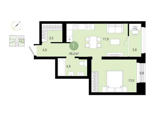 1-комнатная 49,18 кв.м