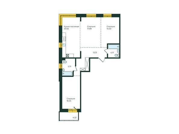 3-комнатная 96,89 кв.м