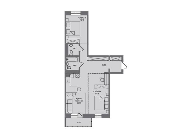 3-комнатная 73,7 кв.м