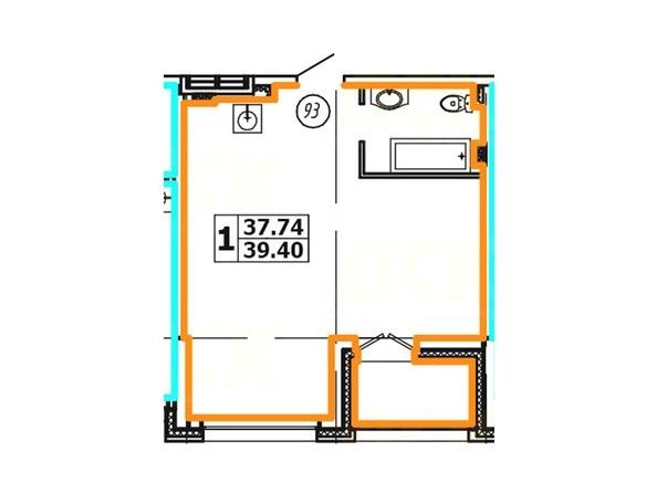 Планировка 1-комнатной квартиры 39,40 кв. м