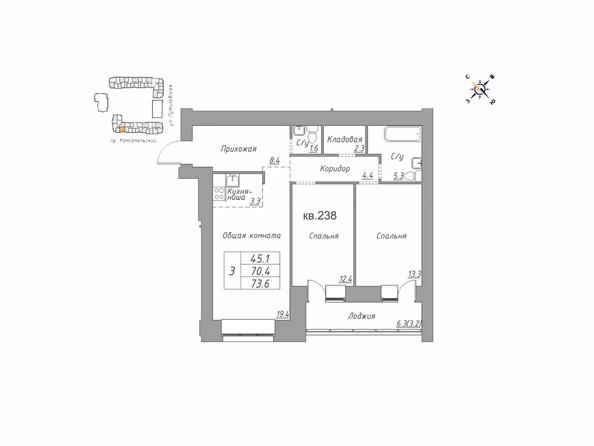 Планировки Жилой комплекс ДВЕ ЭПОХИ, корпус 1 - Планировка трёхкомнатной квартиры 73,6 кв.м