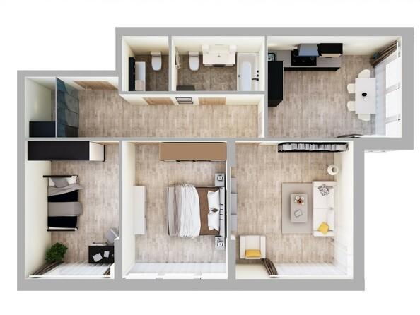 3-комнатная 80 - 81 кв.м