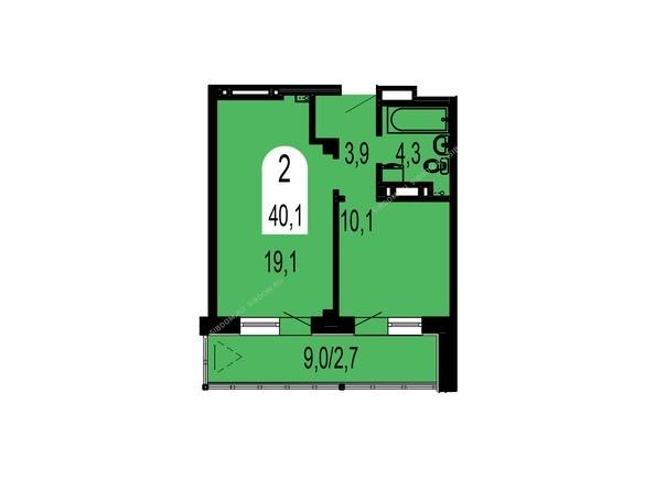 Планировки Жилой комплекс ТИХИЕ ЗОРИ, дом 1 (Красстрой) - Планировка двухкомнатной квартиры 40,1 кв.м