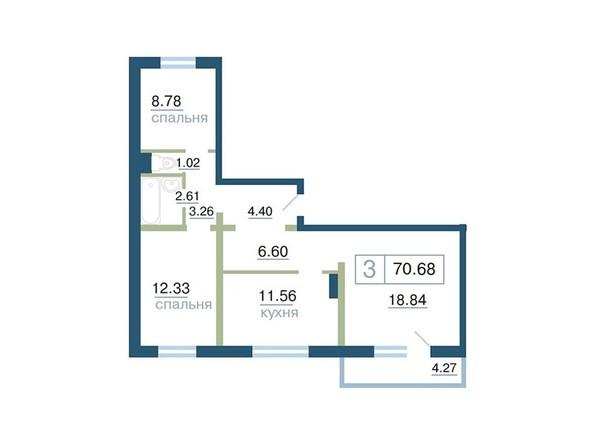 Планировка 3-комн 70 - 70,73 м²