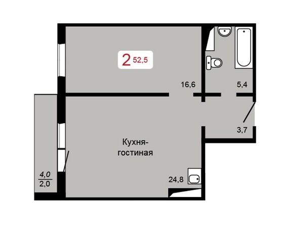 Планировка 2-комн 52,5 м²