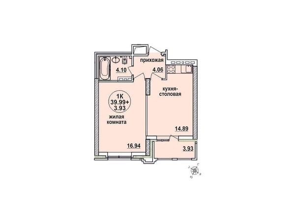 Планировки Жилой комплекс ЗАЕЛЬЦОВСКИЙ, 2 этап - Планировка однокомнатной квартиры 39,99 кв.м