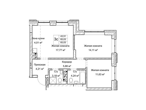 Планировки Жилой комплекс ГУДИМОВ - Планировка трехкомнатной квартиры 75 кв.м