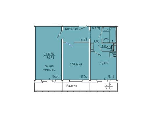 Планировки Жилой комплекс Иннокентьевский, 3 мкр, дом 6 - Планировка двухкомнатной квартиры 50,51 кв.м