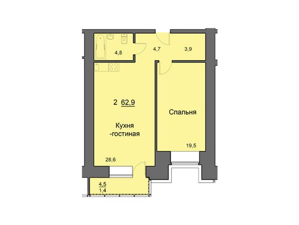 Планировки Жилой комплекс SKY SEVEN, б/с 7, 2 оч - Планировка двухкомнатной квартиры 62,9 кв.м