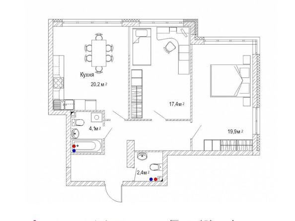 Планировка двухкомнатной квартиры 79,2 кв.м